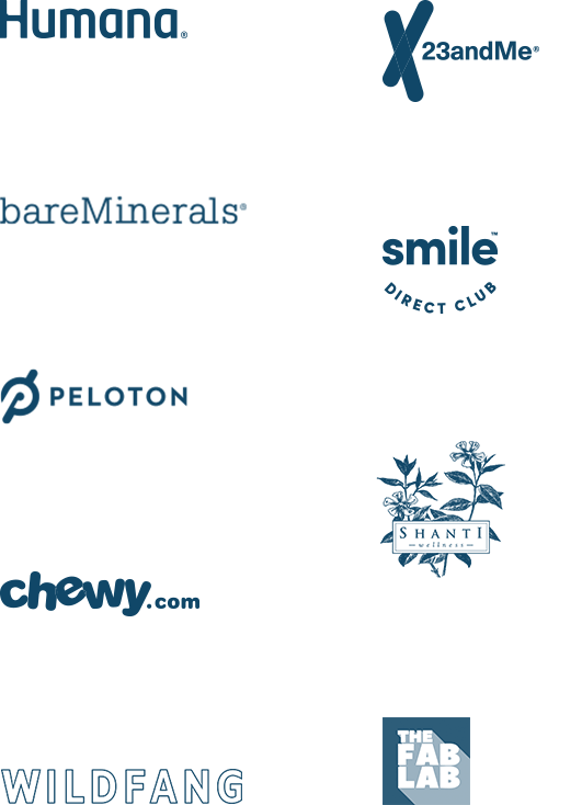 Logos for 23andMe, Humana, bareMinerals, Smile Direct Club, Peloton, Greater Goods, The Fab Lab, Burncycle, Shanti, Wildfang and Chewy.com